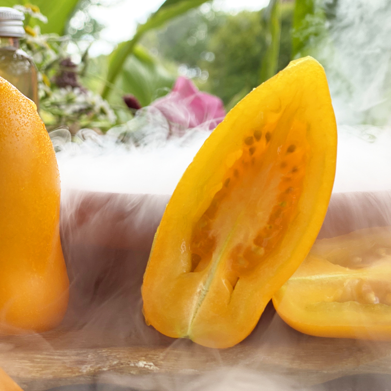 Gelbe Tomatenfrüchte mit wunderschönem Geschmack