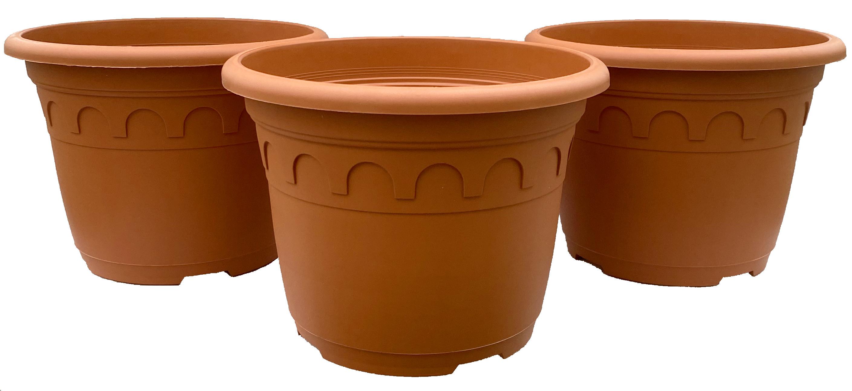 3 x Romatopf Kunststoff Terrakotta-Optik 4,6 Liter