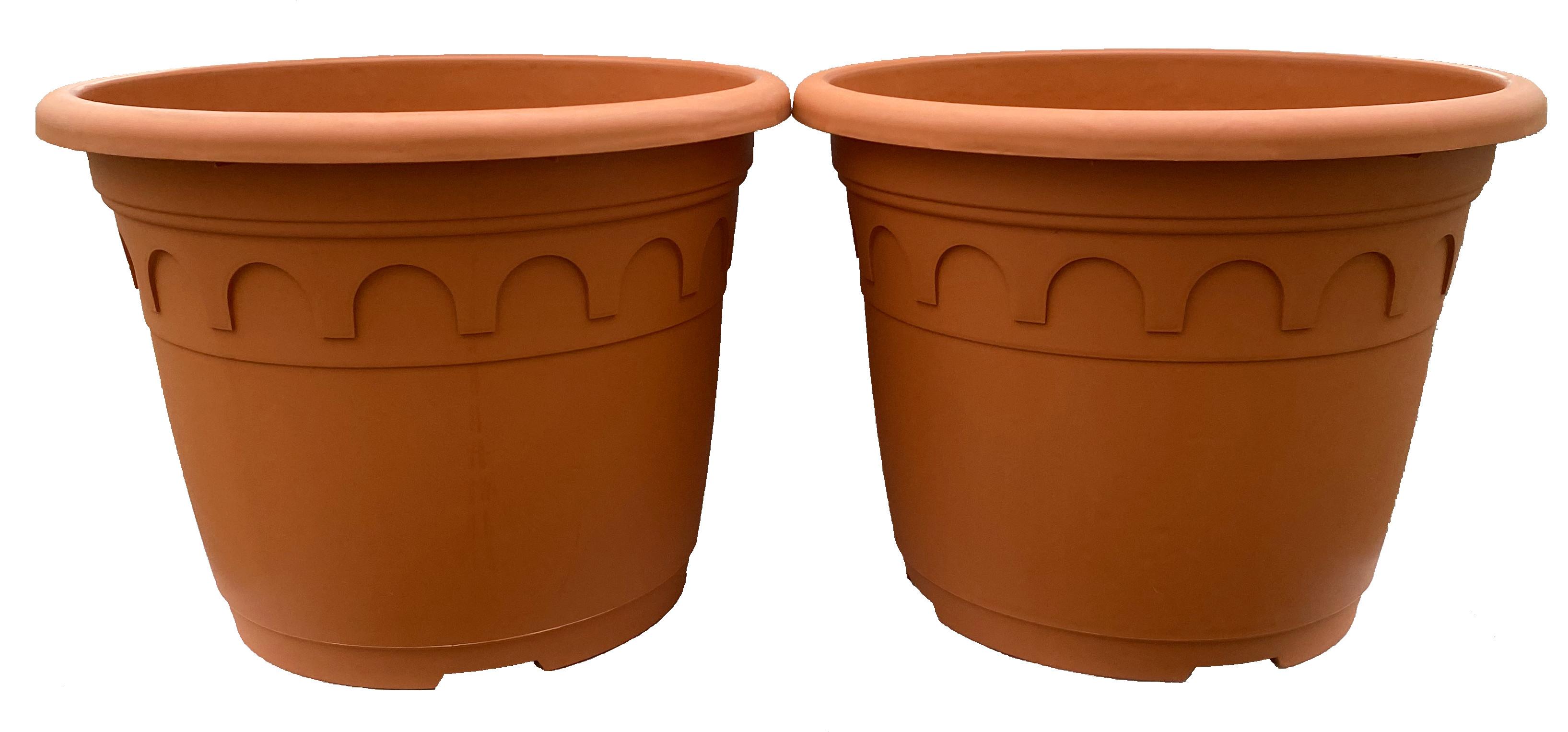 2 x Romatopf Kunststoff Terrakotta-Optik 15 Liter