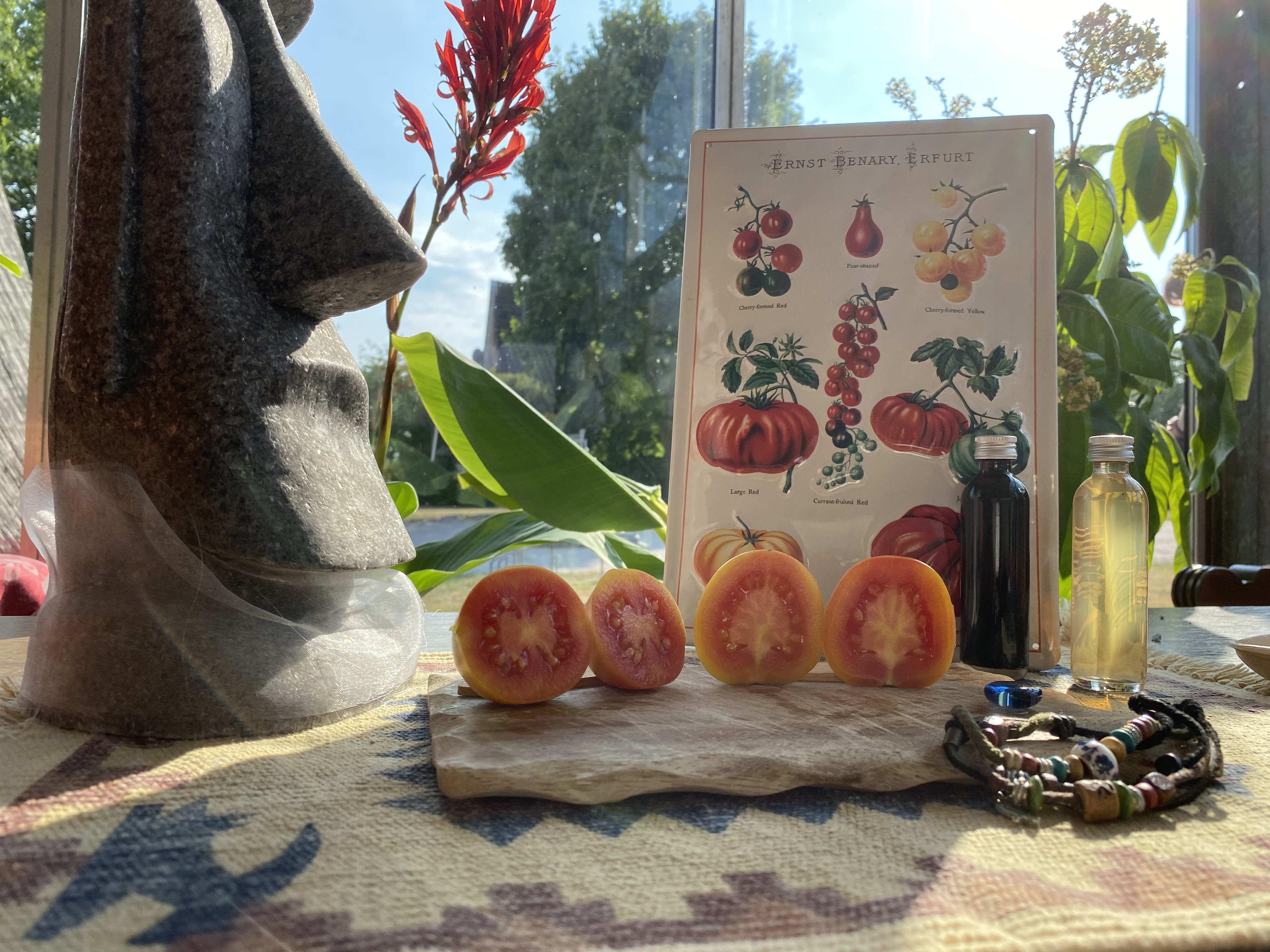 Gelbe Tomate an einer Rispe
