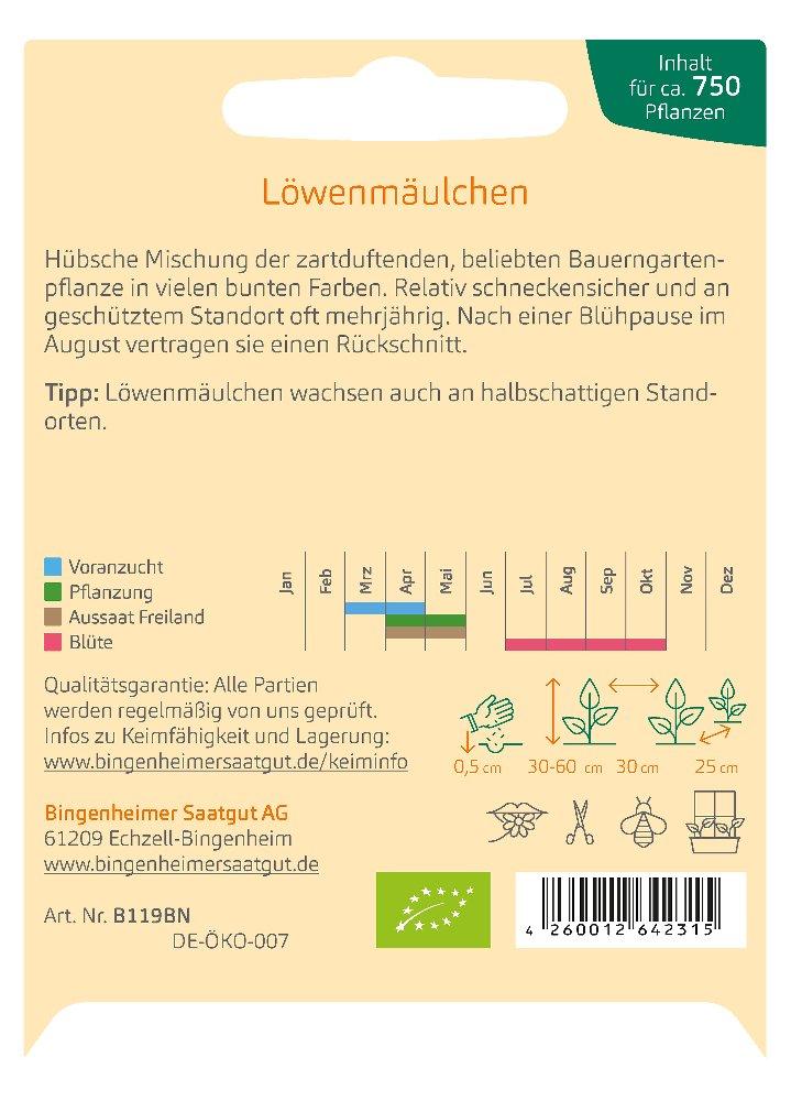 Saatgut Löwenmäulchen -B-
