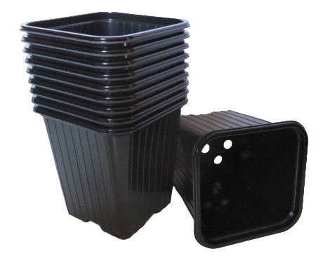 10 x Kunststoff Töpfe schwarz 9x9x9,5cm